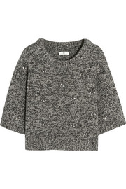Embellished wool-blend sweater
