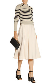 Pleated stretch-crepe skirt
