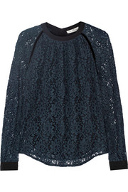 Velvet and silk crepe-trimmed corded lace top