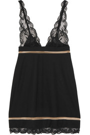 Zephyra Leavers lace-trimmed stretch-jersey chemise