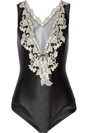 Maison embroidered satin and tulle bodysuit