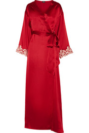 Maison embroidered silk-satin robe