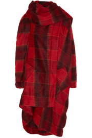 Tartan brushed woven blanket coat