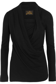 Laeticia draped stretch-jersey top