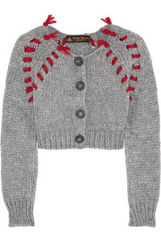 Frankenstein cropped chunky-knit cardigan