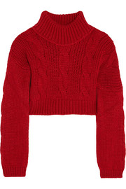 Cropped felt-paneled chunky-knit sweater