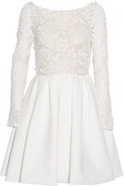 Clover appliquéd tulle and twill dress