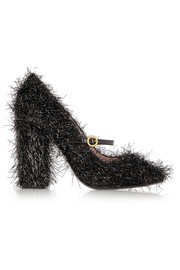 Tinsel-covered leather Mary Jane pumps