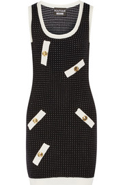 Polka-dot knitted mini dress