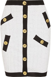 Polka-dot knitted mini skirt