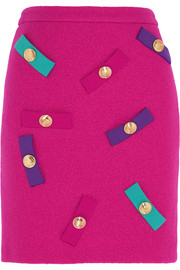 Boutique Moschino Embellished wool-crepe mini skirt