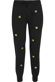 Embellished quilted cotton-blend jersey track pants