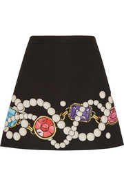 Printed stretch-satin crepe mini skirt