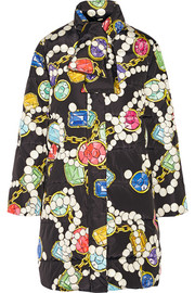 Printed quilted shell coat