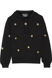 Embellished cotton-blend jersey hooded top