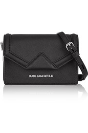 Klassik mini textured-leather shoulder bag