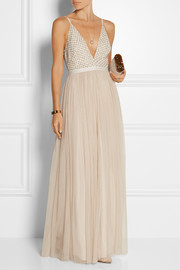 Embellished chiffon and tulle maxi dress