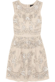 Etch Lace embellished chiffon mini dress