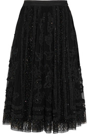 Ribbon appliquéd embellished tulle skirt