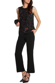 Rose Etch embellished chiffon top