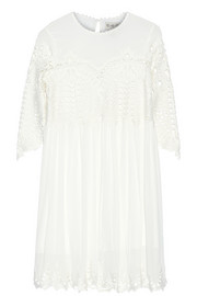 Trellis guipure lace-paneled crinkled-gauze dress