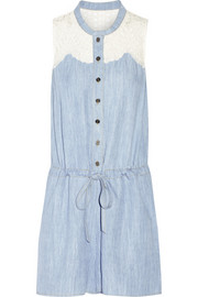 Guipure lace-paneled washed-denim playsuit