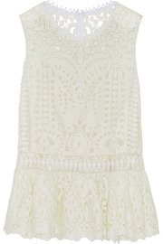 Trellis guipure lace top