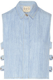 Cutout washed-denim top