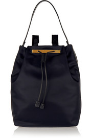 The Row Leather-trimmed shell backpack