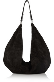 The Row The Sling leather-trimmed suede shoulder bag