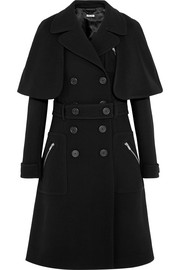Felt-paneled wool-crepe coat