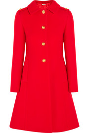 Pleated wool-felt coat