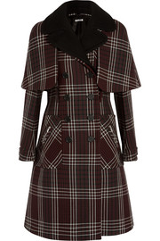 Double-breasted tartan wool coat