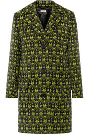 Printed wool-gabardine coat