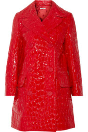 Double-breasted croc-effect faux patent-leather coat