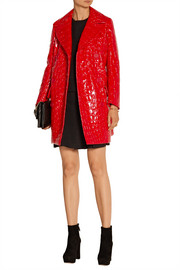 Miu Miu Double-breasted croc-effect faux patent-leather coat