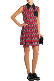 Pleated floral-print crepe mini dress
