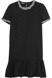 Embellished cotton-blend jacquard mini dress