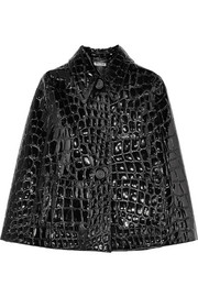 Croc-effect faux patent-leather cape