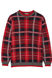 Oversized tartan wool sweater
