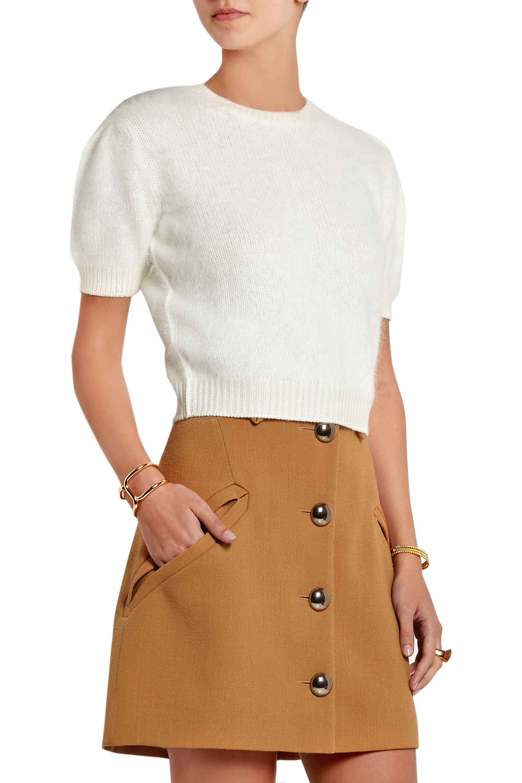 Miu Miu Cropped angora and wool-blend sweater