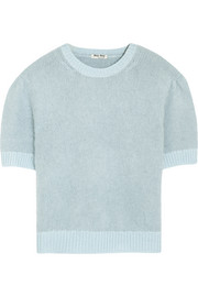 Cropped angora and wool-blend sweater