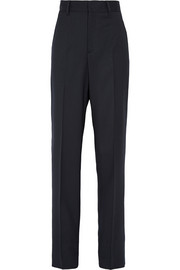 Stretch wool-blend straight-leg pants