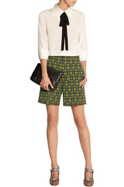 Printed wool-gabardine shorts