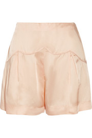 Pleated satin shorts