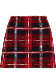 Tartan wool-tweed mini skirt