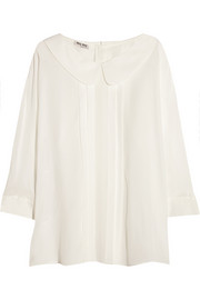 Pleated silk crepe de chine blouse