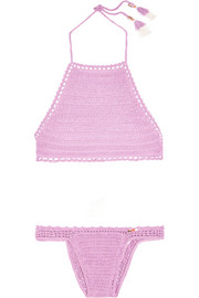 Crocheted cotton halterneck bikini
