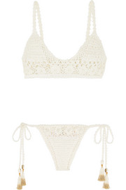 Crocheted cotton triangle bikini