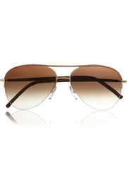 Cutler and Gross Aviator-style leather-trimmed sunglasses